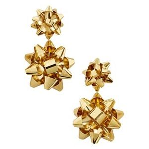 NWT BaubleBar Holly Drop Gold Bow Earrings